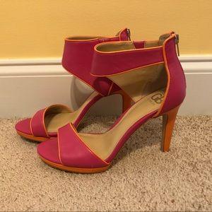 Gianni Bini Hot Pink & Orange Heels Gorgeous! 8.5M